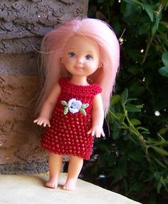 "Kelly 4 1/2"" Doll Red Beaded Dress Crocheted  #ClothingShoes"