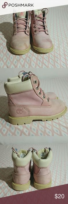 Timberland suede little girls boots Girls Timberland pink boots. Size 8.5. There are some water stains on the suede as pictured. Please look at photos closely to judge condition for yourself. Timberland Shoes