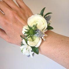 ranunculus wrist corsage cuff bracelet fresh floral bracelet www. White Corsage, Flower Corsage, Bracelet Corsage, Flower Bracelet, Wristlet Corsage, Wrist Corsage Wedding, Wedding Bouquets, Prom Flowers, Bridal Flowers