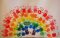 Handprint Rainbow--so cute! Have the party guests do this on a big canvas and use as art in her rainbow room! The Rainbow Fish, Rainbow Theme, Rainbow Art, Projects For Kids, Art Projects, Crafts For Kids, Arts And Crafts, Diy Crafts, Footprint Art