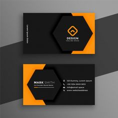 Elegant minimal black and yellow business card template Vector Free Business Card Design, Business Cards Layout, Professional Business Card Design, Luxury Business Cards, Black Business Card, Free Business Card Templates, Unique Business Cards, Business Card Mock Up, Business Casual