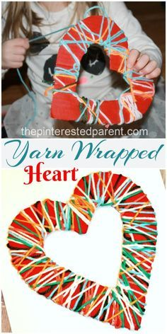 Yarn Wrapped Valentine's Hearts - A great fine motor craft & activity for the kids. Toddlers would love to unwind this heart!