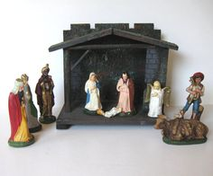 Large Antique Nativity Vintage Creche Made in by jewelryandthings2
