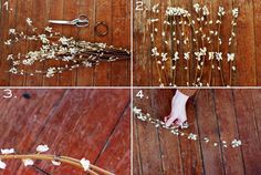 """Bloom Flower Crown DIY Supplies Needed- plastic faux floral branch bunch with blooms, wire cutters, brown wire. Use wire cutters to clip some pieces of a faux floral """"branch"""" Diy Flower Crown, Diy Crown, Floral Crown, Diy Flowers, Flower Crowns, Planners, Pierre Decorative, Fleurs Diy, Flower Band"""