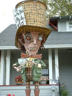 junk art: mad hatter sculpture..