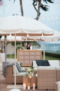 "An outdoor lounge on La Pacifica at this ""Modern Ballroom Wedding By The Sea"" #Outdoorwedding #LuxBride #FSBridal"