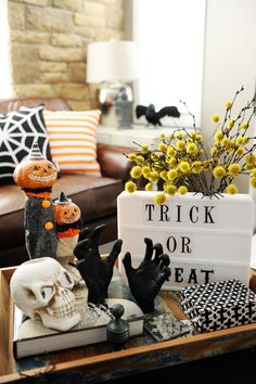 A fun home tour with some of your favorite bloggers sharing their creative and spooky Halloween home tours and ideas.