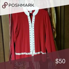 Misook top Red ribbed Misook Jacket White mandarin-like collar White satin trim with brass eyelets Zipper closure Wrinkle free 100% acrylic Machine or handwash Tumble dry One eye missing on ribbon trim and ribbon has come out from under others.  See pics Misook Tops