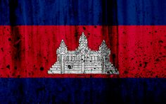 Download wallpapers Cambodian flag, 4k, grunge, flag of Cambodia, Asia, Cambodia, national symbols, Cambodia national flag