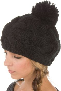 4eb2b2c9b06882 Cable Knitted with Pom Pom Thick Slouch Fashion Beanie /Beret /Winter Hat (  8 Colors ) - Black/One Size Sakkas
