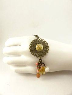 Coral Pendant Antique Brass Toned Necklace