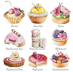 Explore Bath-based watercolor artist Enya Todd's fluid and expressive patisserie style illustrations Cupcakes, Illustration Dessert, Desserts Drawing, Chocolate Ganache Tart, Do It Yourself Food, Food Sketch, Raspberry Tarts, Watercolor Food, Food Painting
