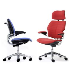 "Freedom Task Chair by Niels Diffrient has raised the bar for the office chair industry, having been described by The New York Times as ""the gold standard in office seating"" from Humanscale Executive Office Chairs, Ergonomic Office Chair, Office Seating, The Office, Chair Design, Office Furniture, Industrial Design, Freedom, Times"