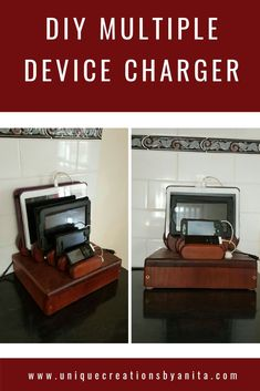 How to Build a Phone Charging Station - Unique Creations By Anita - Handmade wooden stand with 5 port usb charger. I was so fed up seeing phone,ipods and ipads laying - Diy Design, Diy Furniture Plans, Furniture Projects, Diy Craft Projects, Project Ideas, Diy Organization, Handmade Wooden, Home Decor Accessories, Diy Home Decor