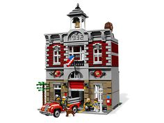 Build a fully furnished, vintage fire station with highly detailed '30s-style fire truck, working garage door, rare LEGO® elements and more!