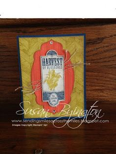 Lovely Fall card made with Stampin' Up! Harvest of Thanks and Truly Grateful stamp sets--both from the new Holiday Catalog 2013.