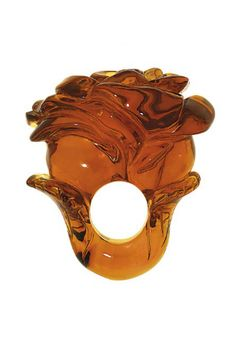 Impressive amber ring, Carved rose with stem design hoop, 5.8cm long, 3.8cm wide, 3.4cm high, Designed by Jolanta Dobrzynska,