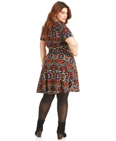 American Rag Plus Size Dress, Short-Sleeve Printed A-Line - Plus Size Dresses - Plus Sizes - Macy's