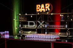 Industrial Back Bar with Vintage BAR Sign and Edisn Light Bulbs by DX Design