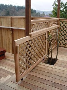 I'm building two gates on our deck to keep Ernie off it, and this is a definitely possibility, minus the lattice. Would be nice and easy, but I'm not sure my deck is setup for it.