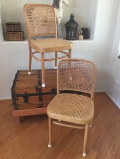 VINTAGE MODERN MID CENTURY PAIR OF CANE SIDE BENTWOOD CHAIR BLONDE LIGHT  COLOR