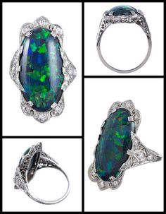 Art Deco black opal and diamond ring in platinum filigree. Via Diamonds in the Library.