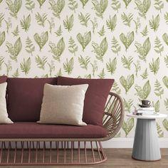 Green Leaf Wallpaper - Smooth Wall Decal / 1 roll: 24W x 108H