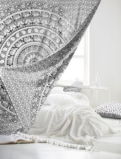 Printed Tapestry, Black/White. Drape your dorm. An easy way to add design to your home-away-from-home, this tapestry hangs from the wall to showcase your style.