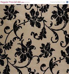 Raised Black Velvet Flock Floral Damask on by WallpaperYourWorld