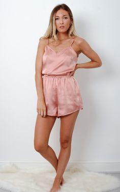 Dusky Pink Satin Loungewear Pj Set - SilkFred