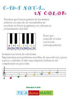 Partituras adaptadas para niños pequeños para que asocien cada nota con un color