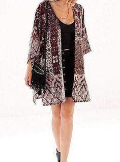 Kimono Styled Jacket - Retro Burgundy Printed