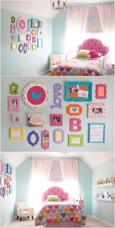 Buy frames and paint in chalk paint to frame photos and pictures for Chloe's room.