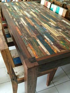 Custom Made Reclaimed Wood Butcher Block Puzzle Table