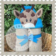 Boy Giraffe hooded towel design. #Embroidery #Applique