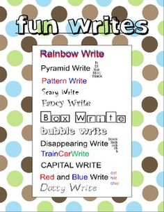 Fun Writes for Spelling and Word Work - fun way for kids to practice their words  FREE