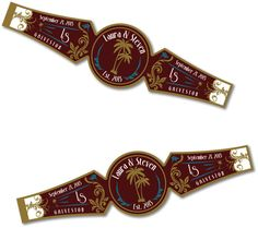 Great for a Cuban party. Put your logo and Custom Printable Cigar Band Napkin Ring by BSideArt on Etsy, $12.50