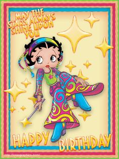 More Betty Boop Birthday greetings & graphics: http://bettybooppicturesarchive.blogspot.com/search/label/Birthday and on Facebook https://www.facebook.com/media/set/?set=a.621392674541250.1073741828.157123250968197&type=3 - Betty Boop with stars and a magic wand - MAY THE STARS ALWAYS SHINE UPON YOU - HAPPY BIRTHDAY  Created by Lora