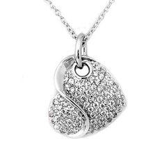 Buy Heart shape Silver Necklace Online @$22.43 #HeartShape #SilverNecklace