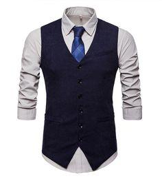 Retro pánska vesta ku obleku v tvídovom / menčestrovom prevedení - modrá Black Waistcoat, Men's Waistcoat, Gilet Costume, Smoking, Suit Vest, Dress Vest, Online Sales, Retro, Pulls