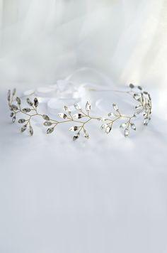 crystal headpiece, crystal tiara, winter wedding hair accessories, crystal crown, winter bride