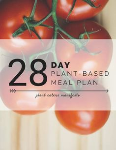 A complete 28 day meal plan, weekly grocery lists, simple recipes, and tips on making a plant-based diet stick.