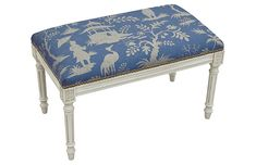 "Ollie 32"" Bench, Blue Chinoiserie Now: $196.00 							Was: $245.00"