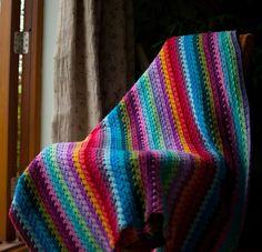 GORGEOUS Granny Stripe Blanket over chair by TheCrocheteer, via Flickr