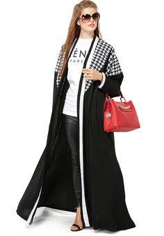 HAYA'S CLOSET houndstooth bisht, pinned via www.namshi.com