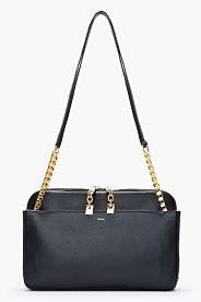 CHLOE Black Leather Chain-Strap Lucy Shoulder Bag