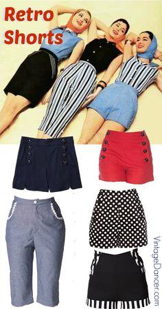 1940s, 1950s Retro vintage shorts, pedal pushers, crop capri, bermuda shorts, sailor shorts, and pinup shorts at VintageDancer.com