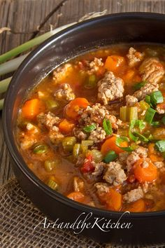(Canada) Italian Turkey Burger Soup, a healthy, hearty soup made with ground turkey breast.