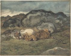 Antoine-Louis Barye (French, 1796–1875). Tiger Rolling on Its Back, 1810–75. The Metropolitan Museum of Art, New York. H. O. Havemeyer Collection, Bequest of Mrs. H. O. Havemeyer, 1929 (29.100.586) #cats