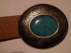BEAUTIFUL VINTAGE  SOUTHWESTERN TURQUOISE BELT & BUCKLE NOT STAMPED